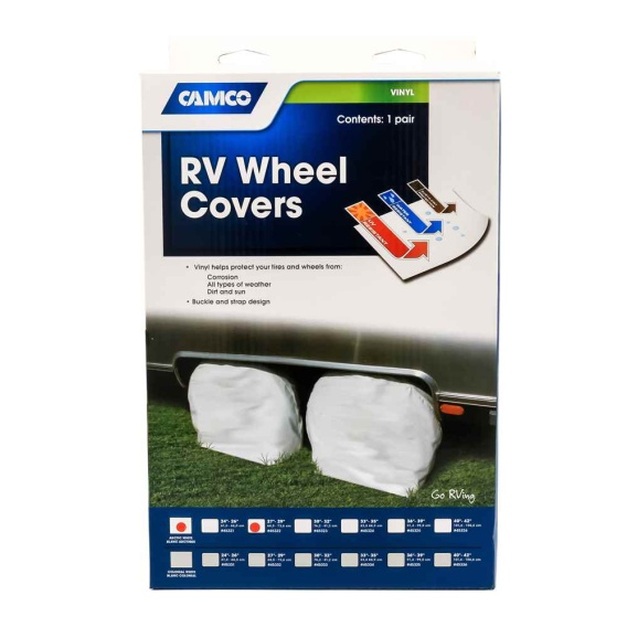 Vinyl RV Wheel & Tire Protector, 1 pair (27 inches-29 inches , White)