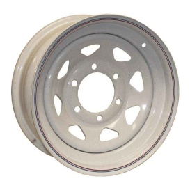 16X6 Trailer Wheel Spoke 6H-5.5 White Striped