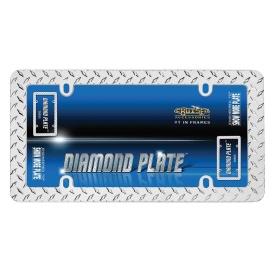 LIC.FRM DIAMOND PLATE CHR