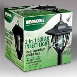 2 in 1 Solar Insect Bug Zapper Lantern Light - Dual Purpose Yard Accent, Black